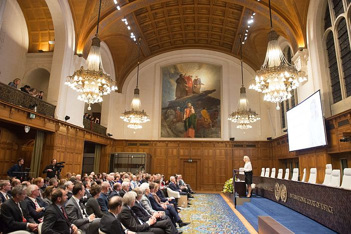 Ms Kaag speaking at the Great Hall of Justice, Peace Palace, The Hague
